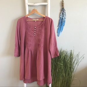 JP and Mattie | Cotton Dusty Rose Lagenlook Tunic